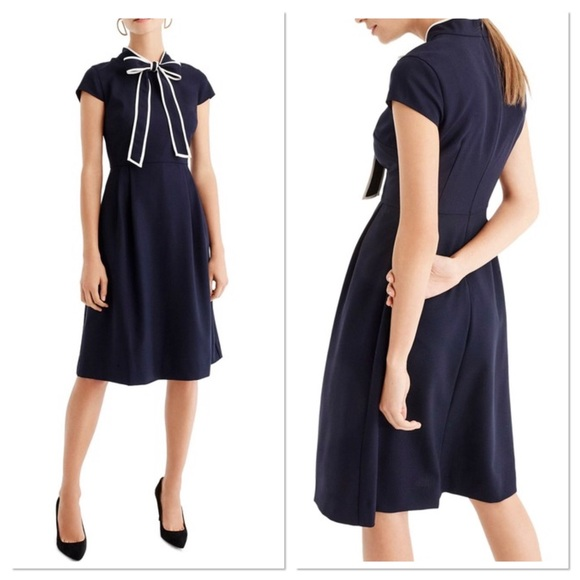 J. Crew Dresses & Skirts - J. Crew J2557 tie neck dress 365 crepe navy